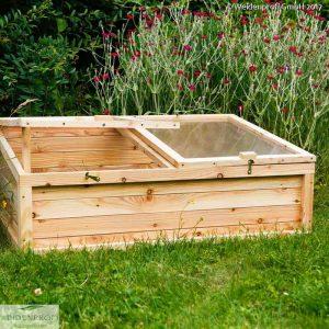Frühbeet aus Lärchenholz mit Deckel 120 x 80 x 35/45 cm